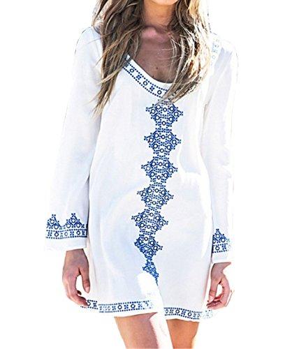 Strandkleidung Damen Langärmlig Sommerkleider Strandkleid Loose Beachwear Oberteile Sonnenschutz Strandtunika Bikini Cover Up One-Size Weiß (EU34-44, Weiß)