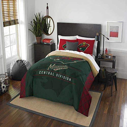 B62830000 570B6783000001 EN Hockey League Wild Bedding 3 Piece Comforter Full Queen Set, Sports Patterned Team Logo Fan Merchandise Athletic Team Spirit, Red Green Brown, Polyester Unisex