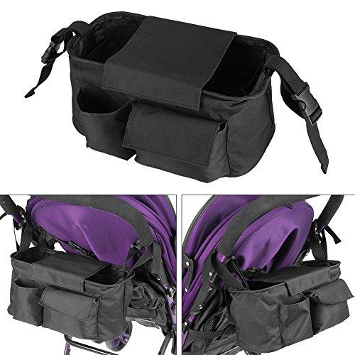 Kinderwagen tas, buggy kinderwagen opbergtas bidon beker organizer (zwart)