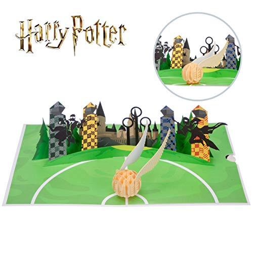 Harry Potter Verjaardagskaart | Golden Snitch Pop Up Card | Inclusief een Zweinsteinse envelop & notitiekaart voor je bericht | Officieel gelicenseerd door Cardology