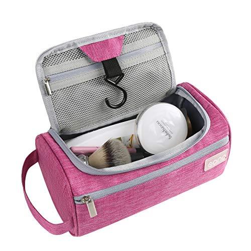 Amazon Brand - Eono Bolsas de Aseo Neceser Avion Unisexo Neceseres de Viaje Toiletry Bag Neceser Maquillaje con Gancho para Colgar Bolsa de Cosmético Impermeable Organizador de Viaje - Fucsia
