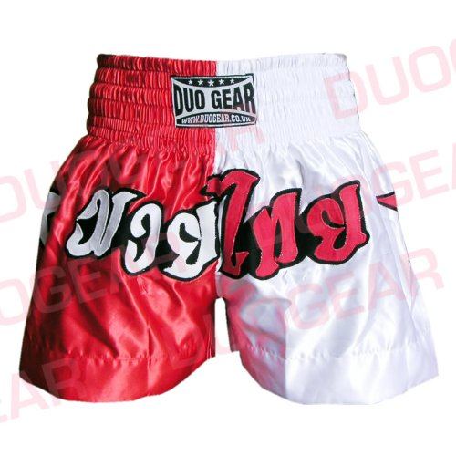 DUO GEAR Boys 'Muay Thai y Kickboxing Pantalones Cortos de Boxeo, Niños, Color Red/White, tamaño XL