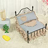 Cama de hierro forjado de estilo europeo de mascotas Cama de la princesa de la cama de la cama de la cama de la cama del gato extraíble y lavable Four Seasons Universal Pet Bed