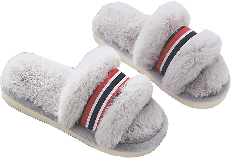 DKKK Women's Soft Fleece Fuzzy Slippers House shoes Indoor & Outdoor Sandals
