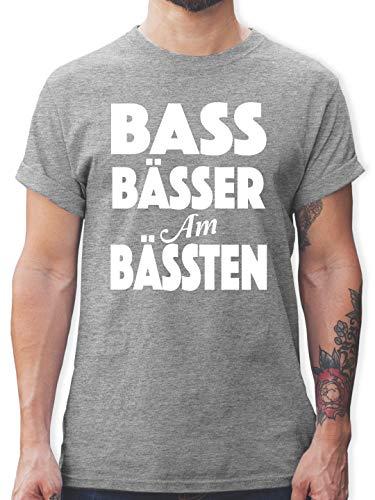 Festival - Bass Bässer am Bässten - M - Grau meliert - L190 - Tshirt Herren und Männer T-Shirts