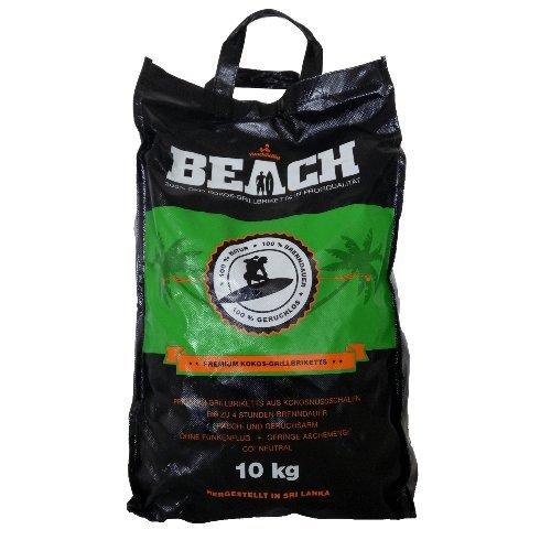 10 Kg Beach Kokos Grill Briketts von BlackSellig reine Kokosnussschalen Grillkohle - perfekte Profiqualität