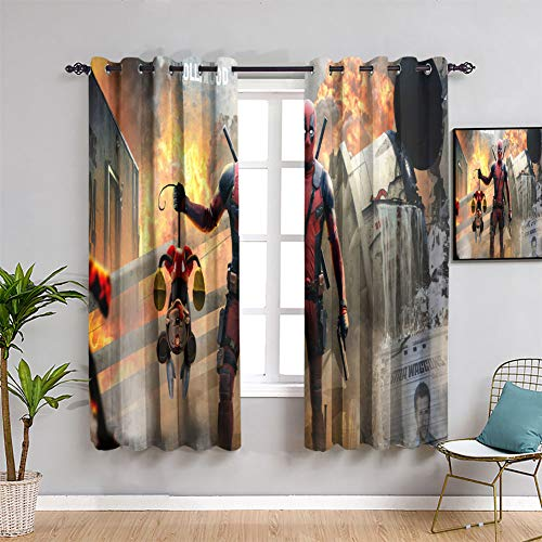 Thermal Insulated Curtains Deadpool Killed Mickey Mouse Treatment Curtains Thermal Insulating Blackout Curtain W63 x L72