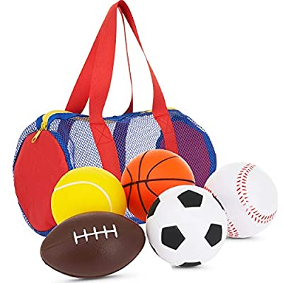"""Neliblu Foam Sports Balls for Toddlers and Kids - 3.5"""" Perfect for Small Hands - Includes 1 Soccer Ball, 1 Basketball, 1 Baseball, 1 Football, and 1 Tennis Ball - Set of 5 Soft Balls in Carry Bag"""