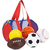 Balls for Kids - Foam Sports Balls -3.5' Perfect for Small Hands - Includes 1 Soccer Ball, 1 Basketball, 1 Baseball, 1 Football, and 1 Tennis Ball - Set of 5 Soft Balls in Carry Bag Toy