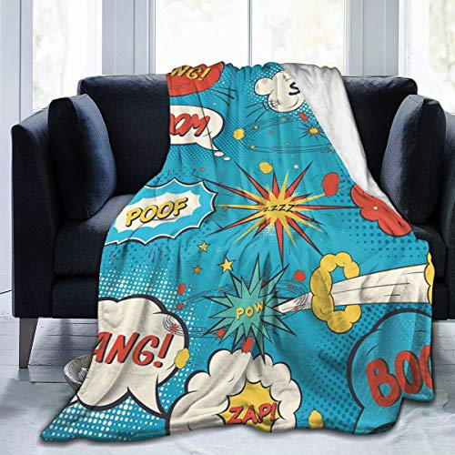 SIONOLY Soft Fleece Throw Blanket,Estilo Pop Art Comic Speech Bubbles Humor Humor Expresiones Boom Splash Bang,Home Hotel Sofá Cama Sofá Mantas para Parejas Niños Adultos,150x200cm
