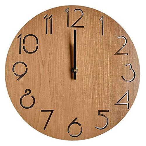 QPALZM Vintage Reloj De Pared Madera Silencioso, Árabe Número Estilo,Madera Reloj De Pared Redondo Decorativo,para Oficina,Hotel,Restaurante Decoración Ideal