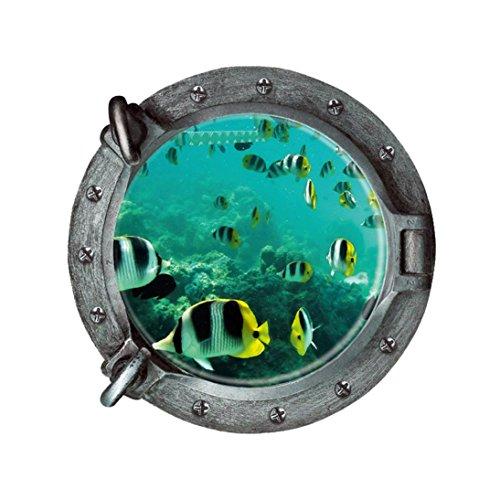 3D Art fantastischen u-Boot-Bullaugen Fisch Unterwasser Welt Removable Wall sticker Wand Aufkleber Home Decor