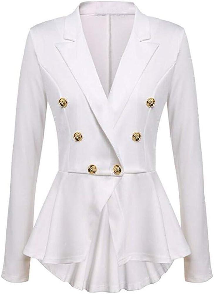 LISTHA Ruffles Blazer Coat Woemen Casual Short Jacket Long Sleeve Button Outwear