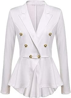 Womens Fashion Dress Long Sleeve Turn-Down Collar Button Blazer Ruffles Peplum Casual Jacket Coat Outwear