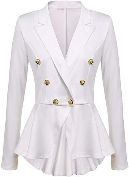 Women S Blazer Bomber Jacket Long Sleeve Ruffles Pleated Button Blazer Jackets Casual Jacket Coat Lapel Outwear Overcoat