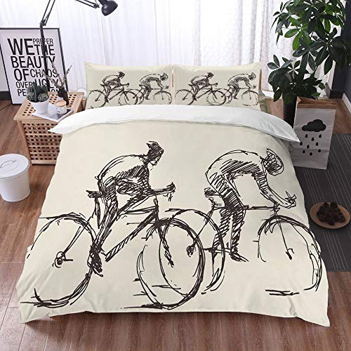 Mingdao Bedding Juego de Funda de Edredón -Bicicleta Rider Mans Bicicleta Vector Dibujado A Mano Dibujo/Microfibra Funda de Nórdico (Cama 240 x 260 cm + Almohada 50X80 cm)