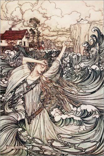 Posterlounge Cuadro de metacrilato 60 x 90 cm: Undine disappears in The Danube de Arthur Rackham