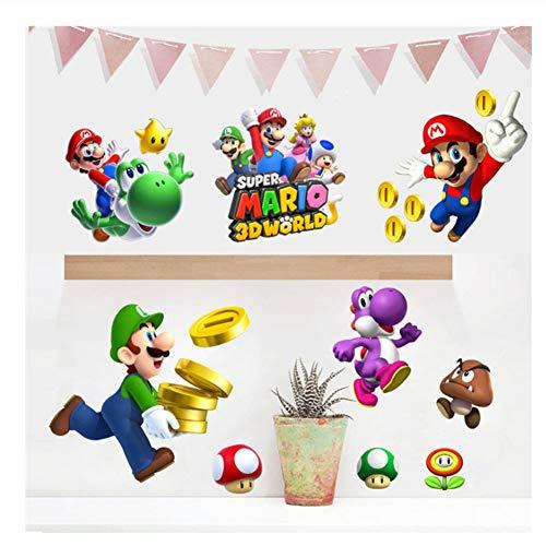 Adesivi murali Super Mario Bros per bambini Decorazioni per camerette per bambini Adesivi per bauli per frigorifero rimovibili WallPaper Poster Decor Play Room45x60cm