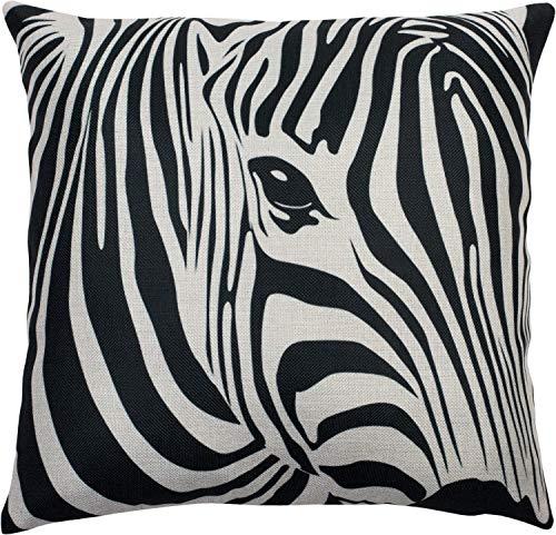 Puccybell KB004 - Funda de cojín (45 x 45 cm), diseño de cebra, impresión digital, poliéster, Color blanco y negro., 45 x 45 cm
