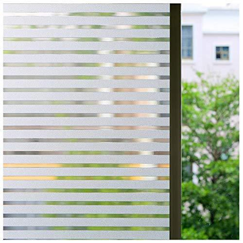 Zindoo Streifen Blickdicht Fensterfolie Sichtschutzfolie Statische Folie ohne Klebstoff Dekorfolie für Fenster, Privatwohnungen Sowie Türen, Bürogebäuden und Konferenzräume 44.5 x 200CM