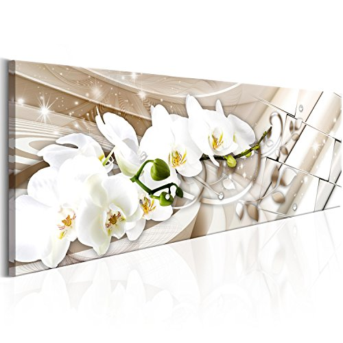 murando - Cuadro de Cristal acrílico Abstracto 120x40 cm Impresión de 1 Pieza Pintura sobre Vidrio Imagen Gráfica Decoracion de Pared - Orquidea Flores b-B-0144-k-b