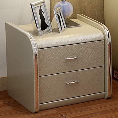 Brmind-Bedside table Console De Rangement De Style Traditionnel en Cuir Blanc avec 2 Tiroirs, Chambre à Coucher Au Design Moderne, Salon, Appartement