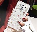 Uposao Custodia Compatibile con Huawei Mate 10 PRO Bling Foglia Oro Design Fiore Foglia Silicone Case TPU Cristallo Trasparente Sottile Antiscivolo della Copertura della Protezione,Rosa