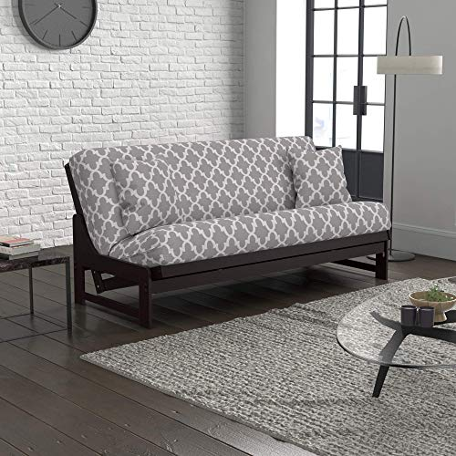 Uptown Urban Loft Convertible Sofa Bed Collection by Nirvana Futons - Queen Size Dark Espresso Arden Futon Frame, Pillows, Mattress and Fynn Futon Cover Set
