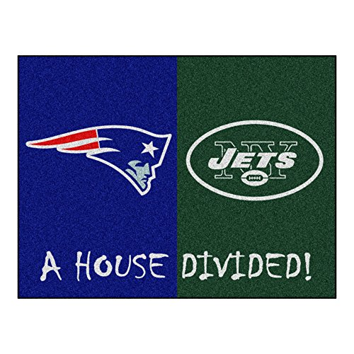 FANMATS - 15558 NFL House Divided - Patriots/Jets Rug, 34