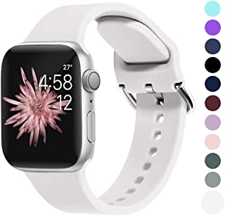 OriBear Compatible with Apple Watch 4 Band 42mm 44mm 40mm 38mm, Women Men Silicone Replacement Sport Watch Band Metal Clasp, Compatible with iWatch Series 4, 3, 2, 1, iPhone Watch Strap