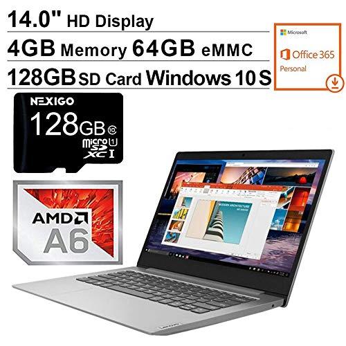 2020 Lenovo IdeaPad 14 Inch Non-Touch Laptop| AMD A6-9220e up to 2.4 GHz| 4GB RAM| 64GB eMMC| WiFi| Windows 10 S (1 Year Office 365 Personal Included) + NexiGo 128GB SD Card Bundle