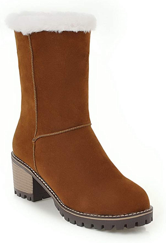 AN Womens Chunky Heels Fur Collar Imitated Suede Boots DKU02072