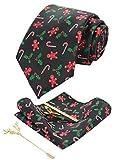 JEMYGINS Herren Weihnachts Krawatte Krücken Muster Woven Party Krawatte & Einstecktuch Set(15)