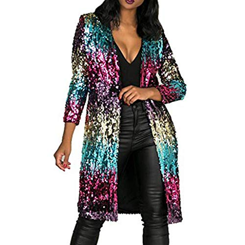 Cardigan Womens Autumn Cover Up Long Sleeve Sequins Metallic Open Front Cardigan Coat