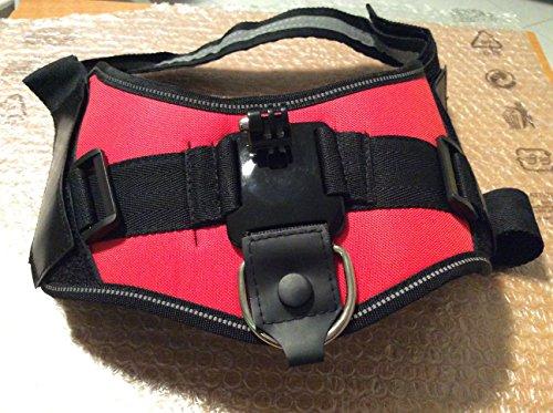 QUMOX Montura cámara arnés ajustable perro para Gopro Hero HD SJCAM SJ4000 wifi ajusta perros 15-120 LBS, Rojo