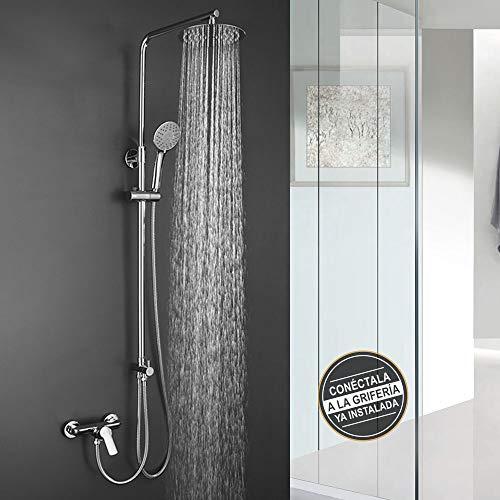 Columna de ducha SIN GRIFERÍA extensible de 80 a 120 cm. Se conecta a grifos de ducha estandar. Incluye desviador, 2 flexos de 60cm y 175cm, ducha de mano hidromasaje y rociador superior redondos