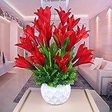 LMZJLU Plantas de simulación de Lirio de Flores Artificiales con Maceta de cerámica Ideal para decoración de celebración de Festivales de Fiesta de Mesa de Sala, Rojo