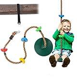 Sunnyglade 6.5 ft Kids Climbing Rope Tree Swing Seat Set with Platforms & Disc Outdoor Swing Seat Including Hanging Strap & Locking Carabiner