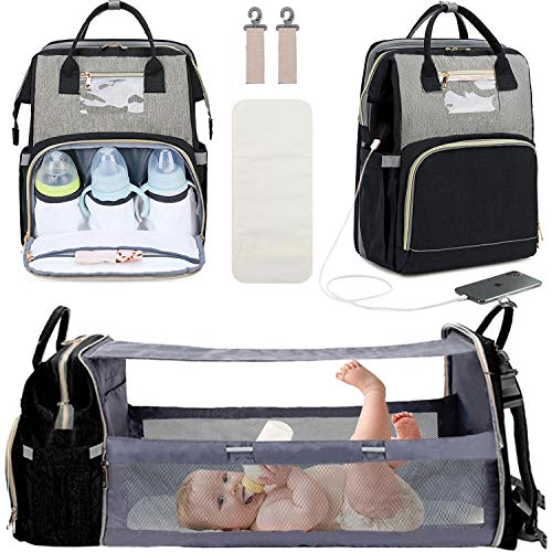 3 in 1 Diaper Bag Backpack with Changing Station Travel Bassinet Foldable Baby Bed Baby Bag Portable Crib Mummy Bag Large Capacity Waterproof USB Charging Port Dark GreyDark Grey