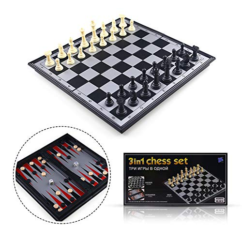 3 in 1 Magnetic Travel Chess Set Portable Chess with Storage Bag for Kids and Adults Gift Learning and Education Toy Gift