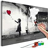 murando Dipingere con i Numeri Kit Banksy Street Art 60x40 cm DIY Fai da Te Quadri da Dipingere Numerati per Adulti Bambini Dipinti a Mano su Tela Pittura Cornice n-A-1004-d-a