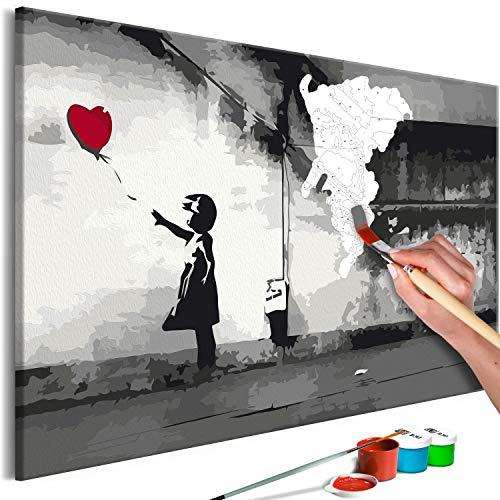 murando - Malen nach Zahlen Banksy Street Art 60x40 cm Malset mit Holzrahmen auf Leinwand für Erwachsene Kinder Gemälde Handgemalt Kit DIY Geschenk Dekoration n-A-1004-d-a