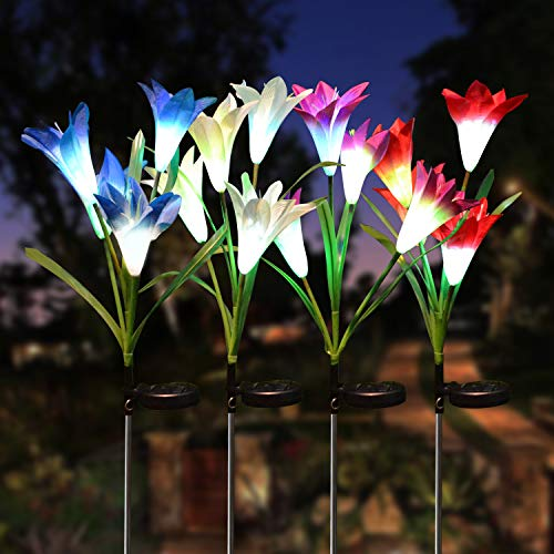 Joiedomi 4Packs Outdoor Solar Garden Stake Lights 16 Lily Flower Multi-Color Changing LED Decorative Landscape Lights Waterproof for Walkway Pathway Yard Lawn Patio Courtyard