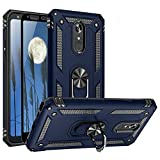 TJS Phone Case Compatible with LG Stylo 5/Stylo 5 Plus/Stylo 5V/Stylo 5X, [Full Coverage Tempered Glass Screen Protector] Impact Resistant Defender Metal Ring Magnetic Support Heavy Duty (Blue)