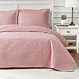Hansleep Gesteppte Tagesdecke, Überwurf, King-Size, 240 x 260 cm, 3 Stück, rosa Ultraschall-Prägung, gebürstete Mikrofaser, Bettdecken mit 2 Kissenbezügen 50 x 75 cm, für alle Jahreszeiten