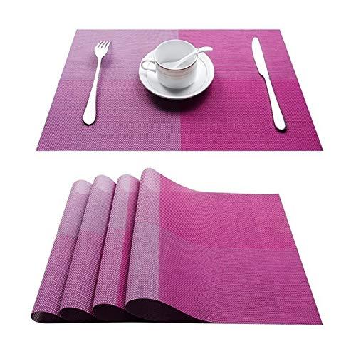 HUIJUNWENTI Conjunto de 4 PVC bambú manteles de plástico for el Comedor de Mesa sábanas Estera de Lugar situado en Accesorios de Cocina Taza del Vino Mat (Color : C Purple, Talla : Set of 10)