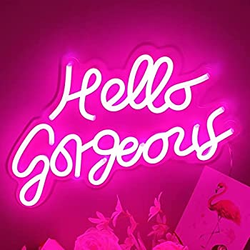 Motivational Neon Signs Hello Gorgeous Pink Inspirational Quotes with Dimmer Switch for Badroom Home Mirrors Makeup Table Decoration by DIVATLA