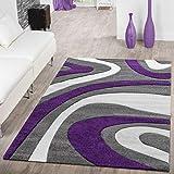 T & T moderna alfombra pelo corto | Salón Dormitorio Comedor | suave de diseño, diseño de ondas, en varios. Colores y Tamaños, morado, 200 x 290 cm