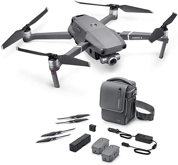 DJI Mavic 2 Zoom con Fly More Kit con Drone Quadrocopter Incluye Drone con Zoom Óptico de 24-48 mm Cámara de Video Sensor CMOS de 12 MP 1/2.3 Color Gris