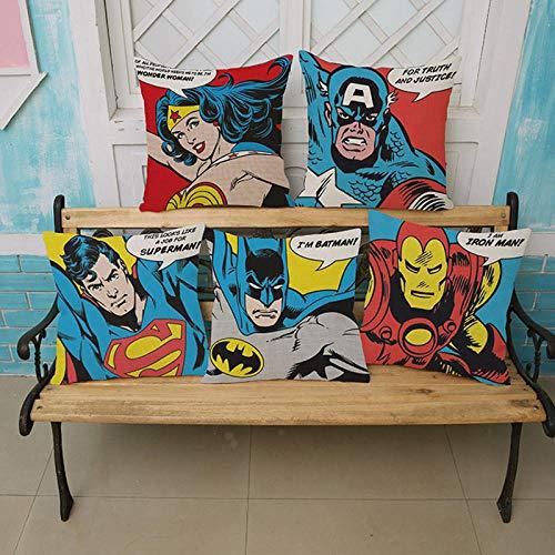 ZHAOCC Funda de cojín Juego de 5 Juegos de Lino Hug Funda de Almohada Super Hero Justice League Wonder Woman Iron Man Funda de Almohada Capitán América 45X45Cm